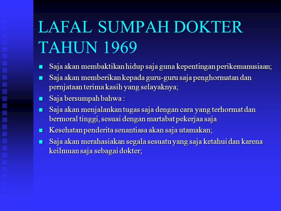 LAFAL SUMPAH DOKTER TAHUN 1969