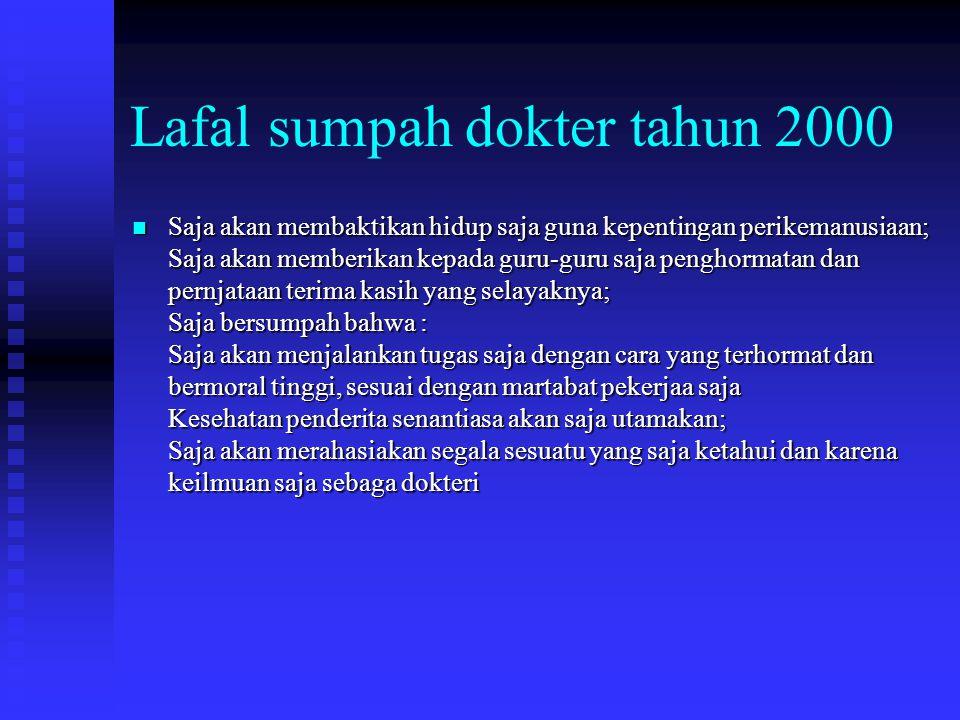 Lafal sumpah dokter tahun 2000