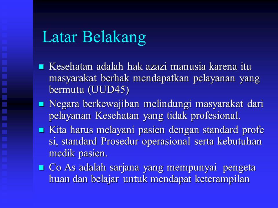 Latar Belakang Kesehatan adalah hak azazi manusia karena itu masyarakat berhak mendapatkan pelayanan yang bermutu (UUD45)