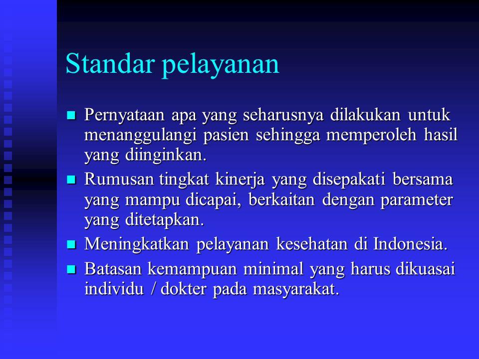 Standar pelayanan Pernyataan apa yang seharusnya dilakukan untuk menanggulangi pasien sehingga memperoleh hasil yang diinginkan.