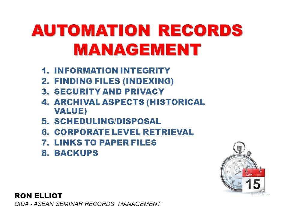 AUTOMATION RECORDS MANAGEMENT