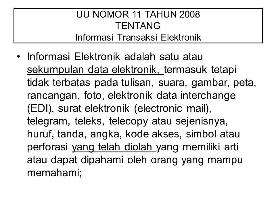 UU NOMOR 11 TAHUN 2008 TENTANG Informasi Transaksi Elektronik