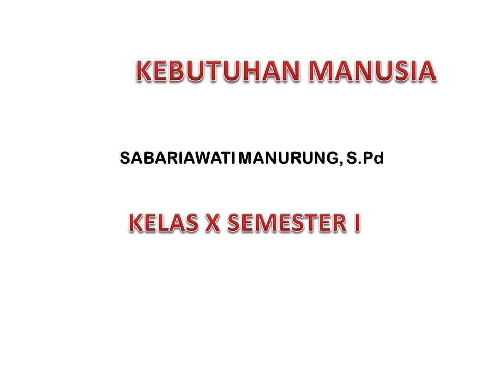 KEBUTUHAN MANUSIA SABARIAWATI MANURUNG, S.Pd KELAS X SEMESTER I
