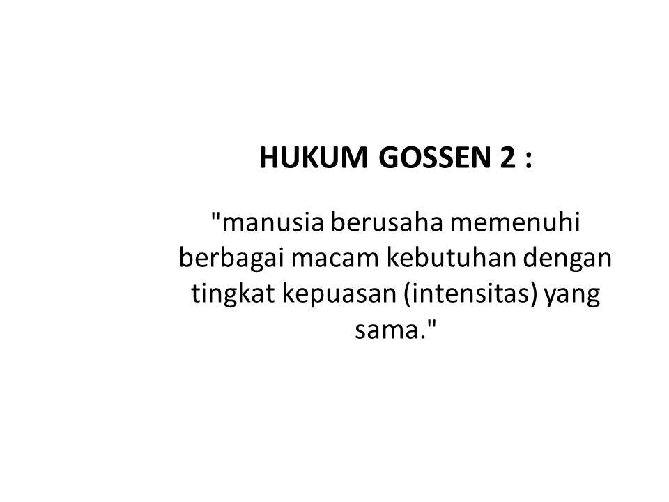 HUKUM GOSSEN 2 : manusia berusaha memenuhi berbagai macam kebutuhan dengan tingkat kepuasan (intensitas) yang sama.