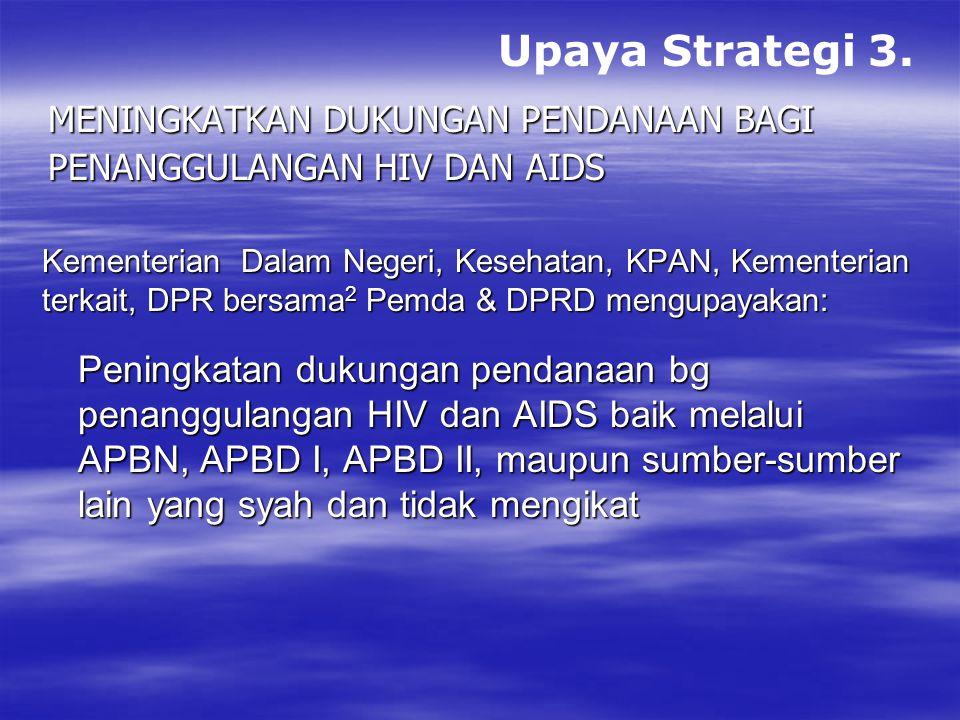 Upaya Strategi 3. Meningkatkan dukungan pendanaan bagi. Penanggulangan hiv dan aids. Kementerian Dalam Negeri, Kesehatan, KPAN, Kementerian.