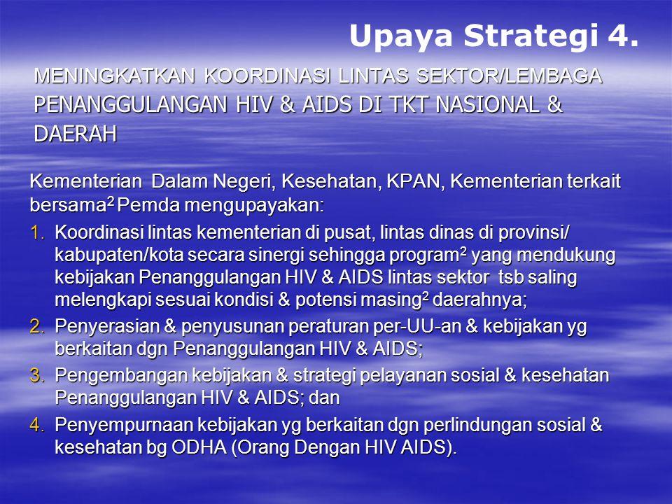 Upaya Strategi 4. penanggulangan HIV & AIDS di tkt nasional & daerah