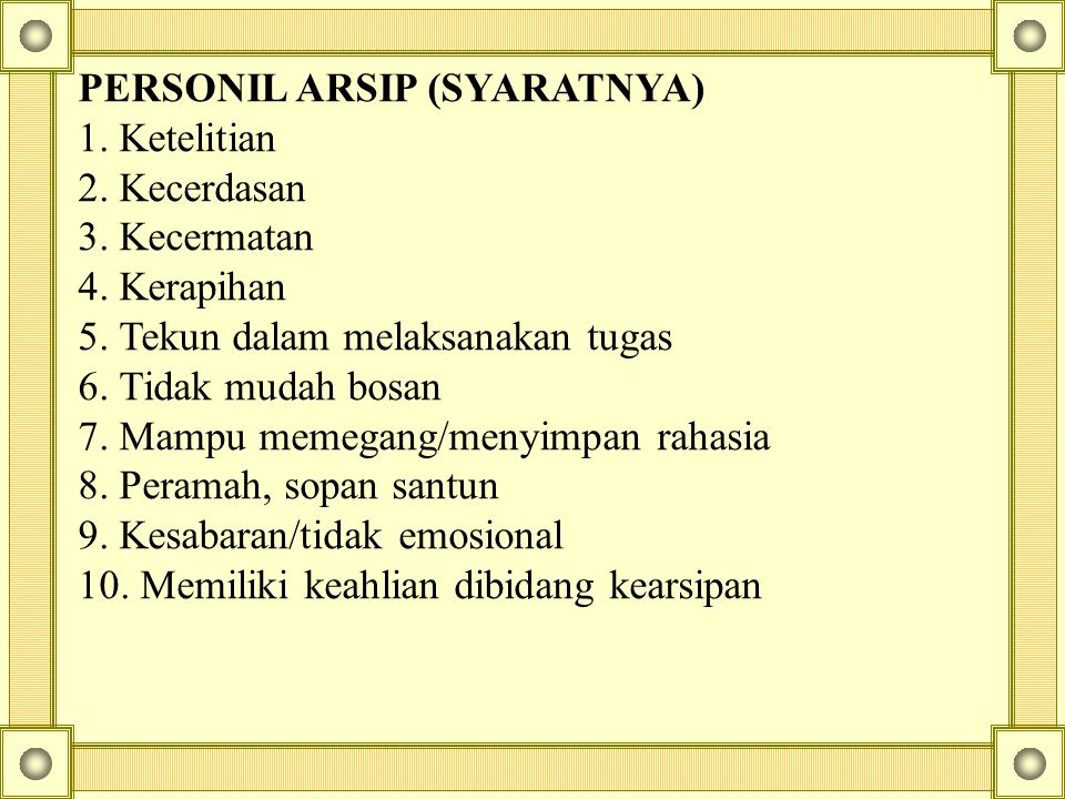 PERSONIL ARSIP (SYARATNYA)