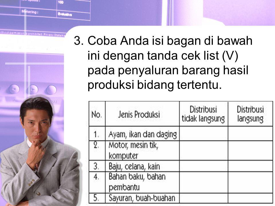 Coba Anda isi bagan di bawah ini dengan tanda cek list (V) pada penyaluran barang hasil produksi bidang tertentu.