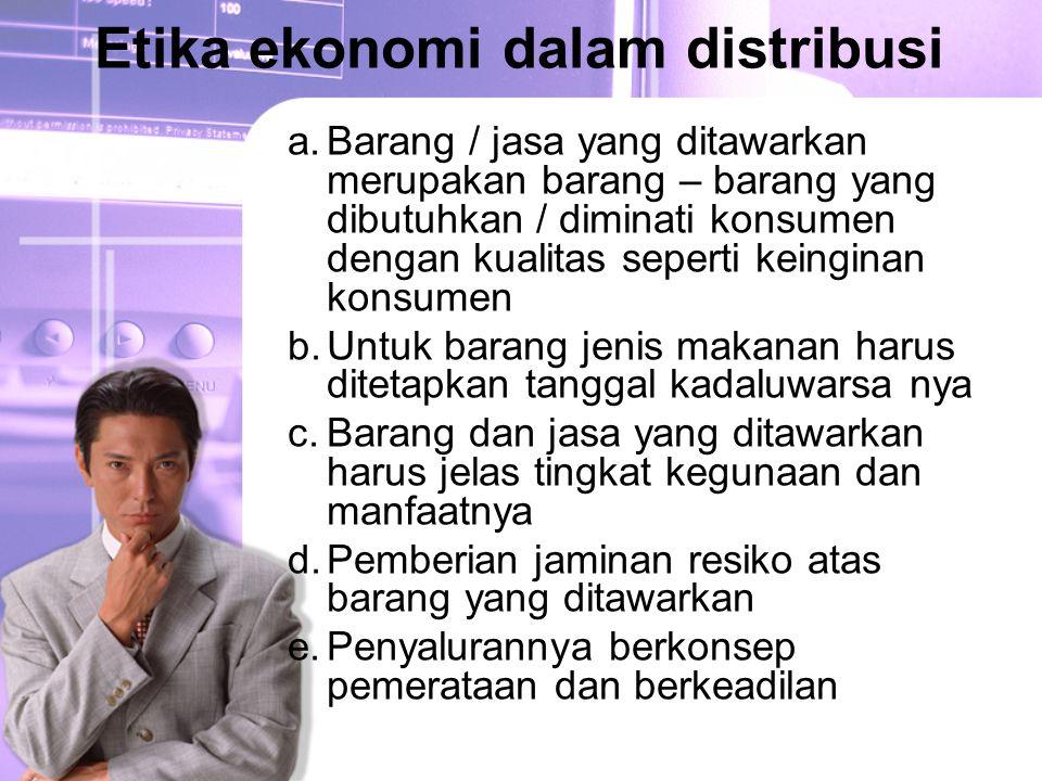 Etika ekonomi dalam distribusi