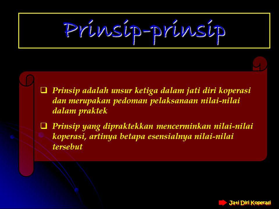 Prinsip-prinsip Prinsip adalah unsur ketiga dalam jati diri koperasi dan merupakan pedoman pelaksanaan nilai-nilai dalam praktek.