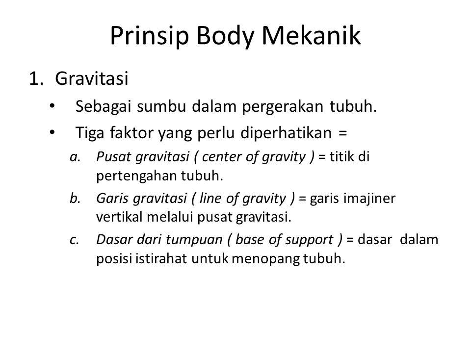 Prinsip Body Mekanik Gravitasi Sebagai sumbu dalam pergerakan tubuh.