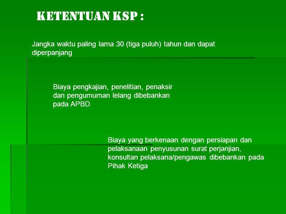 Ketentuan KSP : Jangka waktu paling lama 30 (tiga puluh) tahun dan dapat diperpanjang.