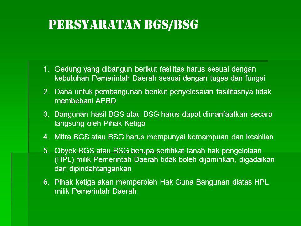 PERSYARATAN BGS/BSG Gedung yang dibangun berikut fasilitas harus sesuai dengan kebutuhan Pemerintah Daerah sesuai dengan tugas dan fungsi.