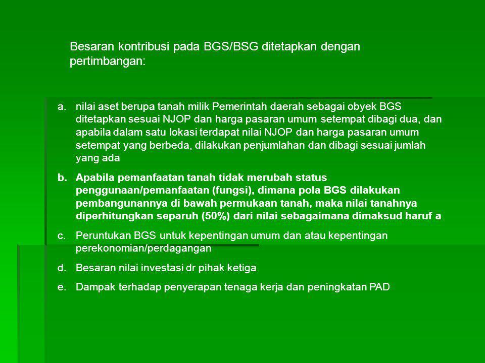 Besaran kontribusi pada BGS/BSG ditetapkan dengan pertimbangan: