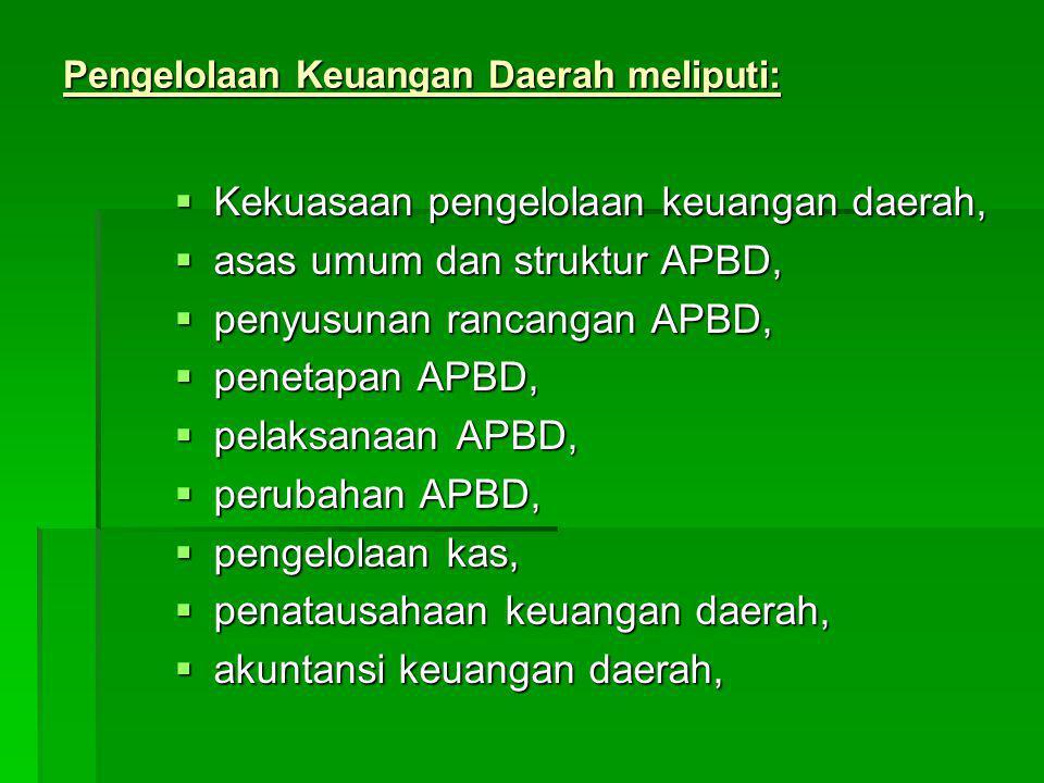 Pengelolaan Keuangan Daerah meliputi: