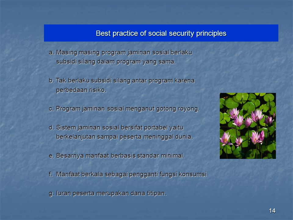 Best practice of social security principles