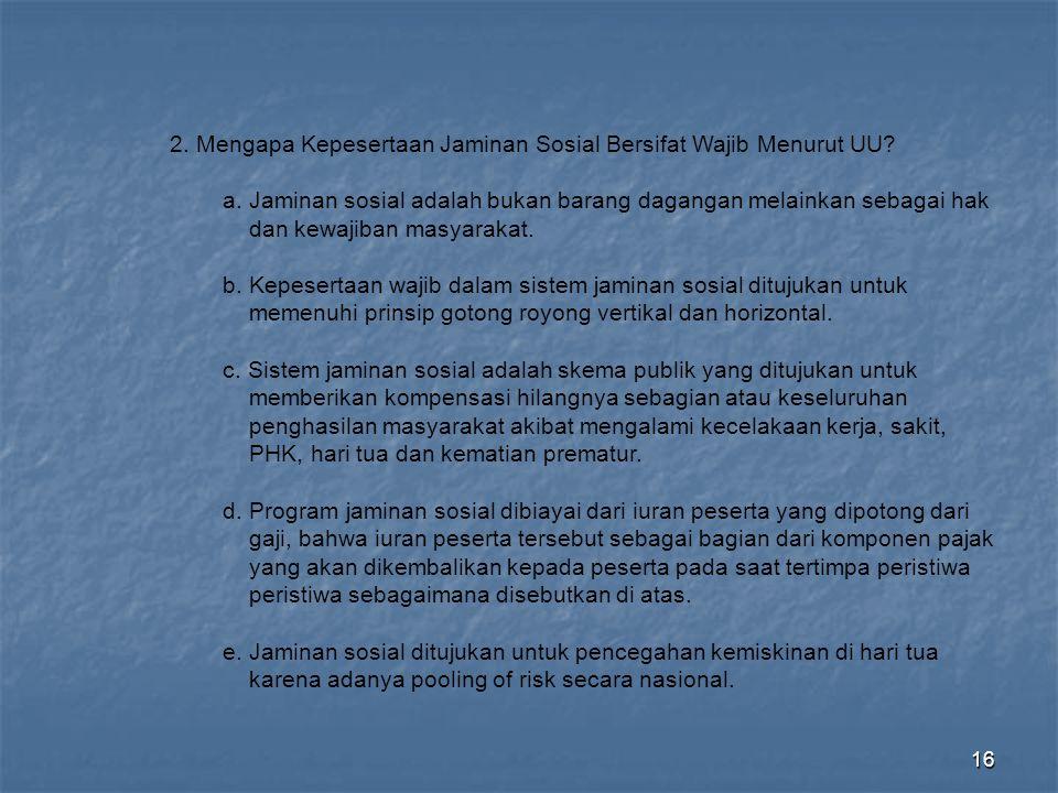 2. Mengapa Kepesertaan Jaminan Sosial Bersifat Wajib Menurut UU