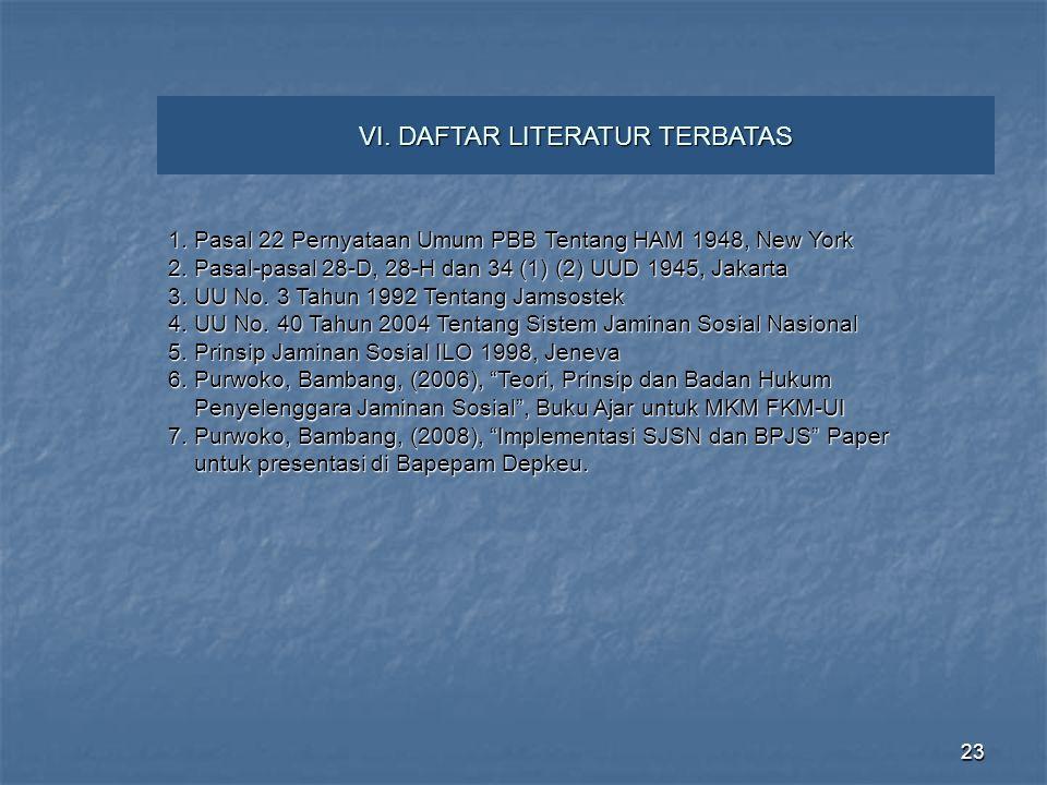 VI. DAFTAR LITERATUR TERBATAS