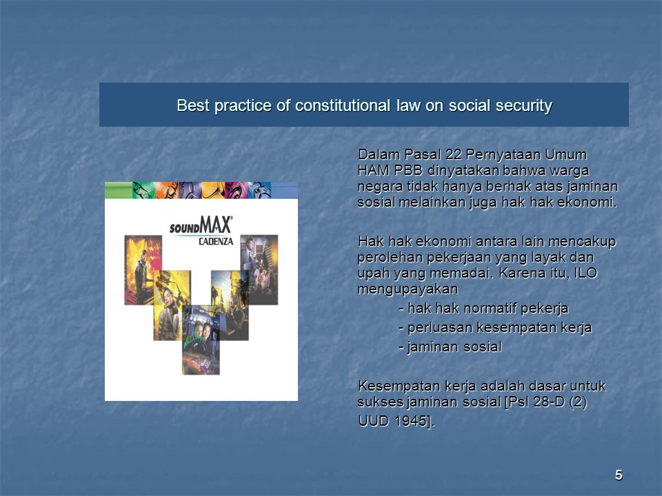Best practice of constitutional law on social security