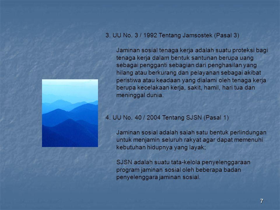 3. UU No. 3 / 1992 Tentang Jamsostek (Pasal 3)