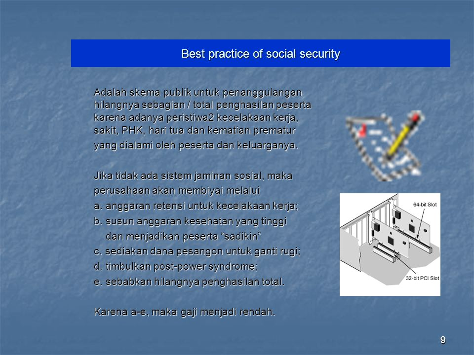 Best practice of social security