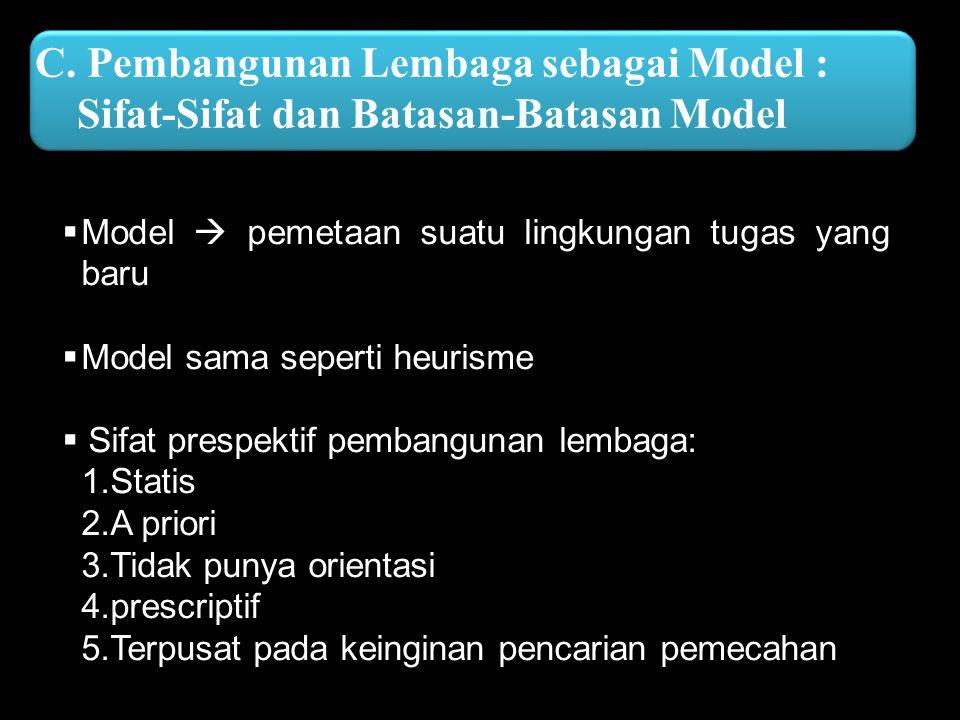 C. Pembangunan Lembaga sebagai Model : Sifat-Sifat dan Batasan-Batasan Model