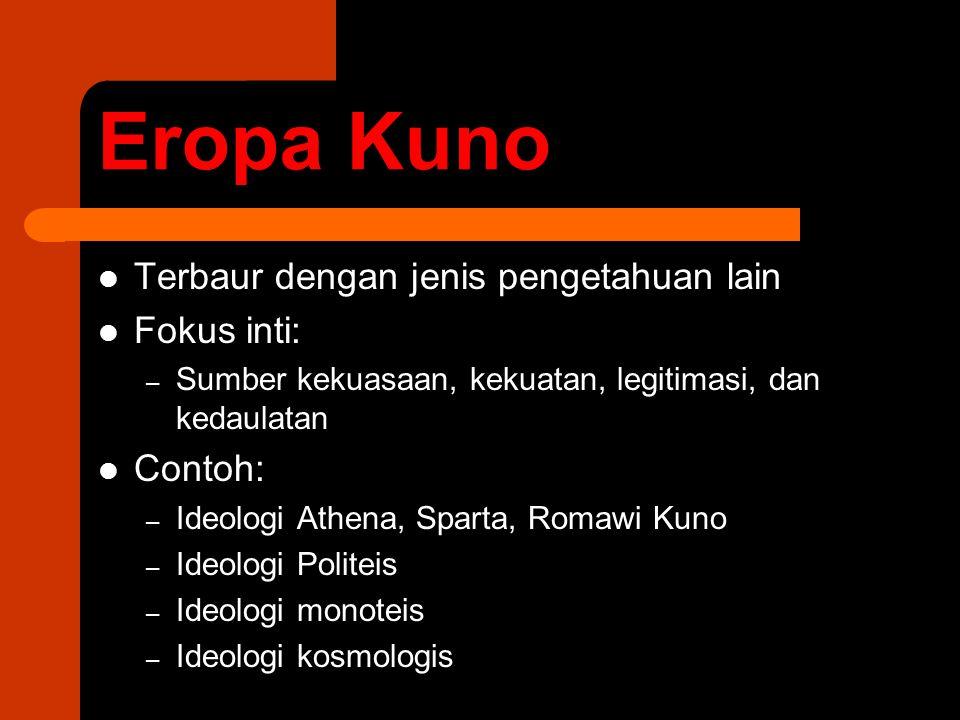 Eropa Kuno Terbaur dengan jenis pengetahuan lain Fokus inti: Contoh: