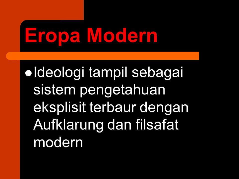 Eropa Modern Ideologi tampil sebagai sistem pengetahuan eksplisit terbaur dengan Aufklarung dan filsafat modern.