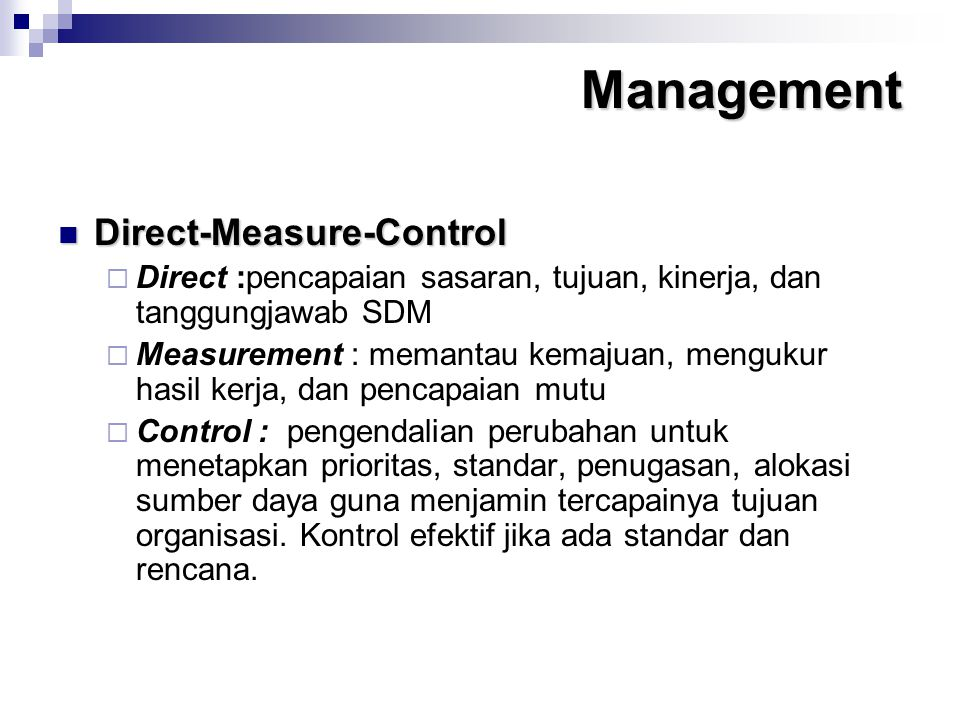 Management Direct-Measure-Control