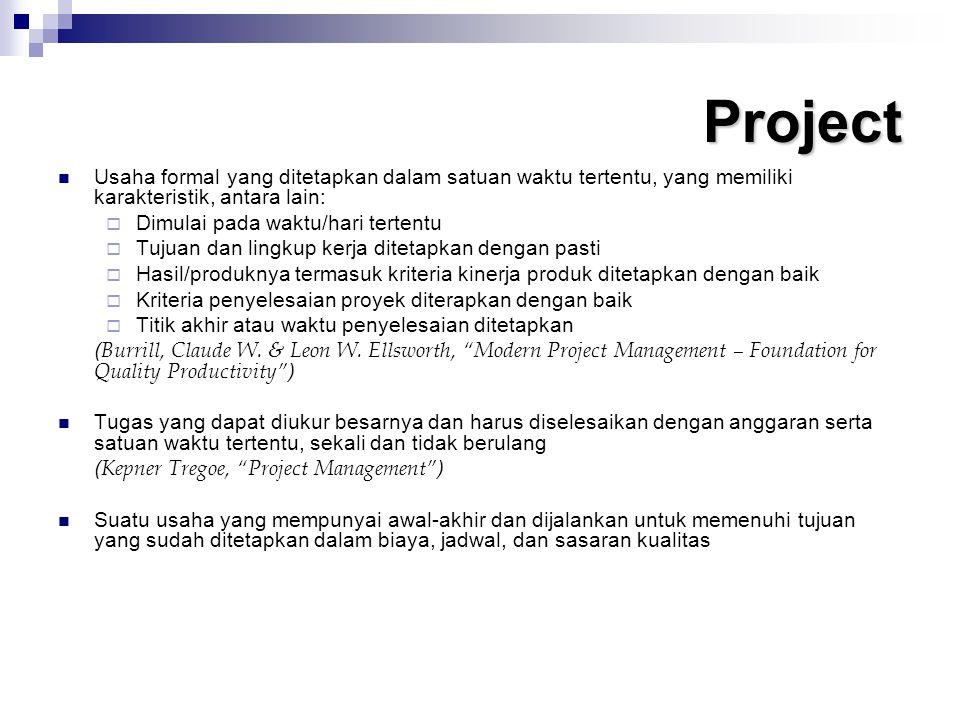 Project Usaha formal yang ditetapkan dalam satuan waktu tertentu, yang memiliki karakteristik, antara lain: