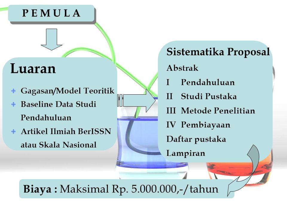 Luaran Biaya : Maksimal Rp. 5.000.000,-/tahun Sistematika Proposal