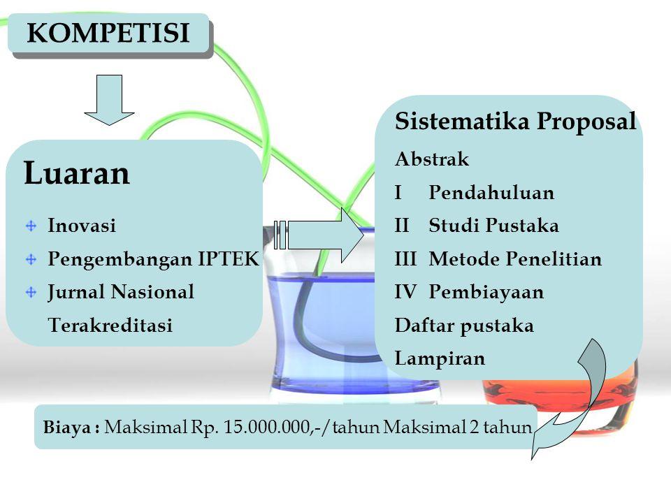 Luaran KOMPETISI Sistematika Proposal Abstrak I Pendahuluan