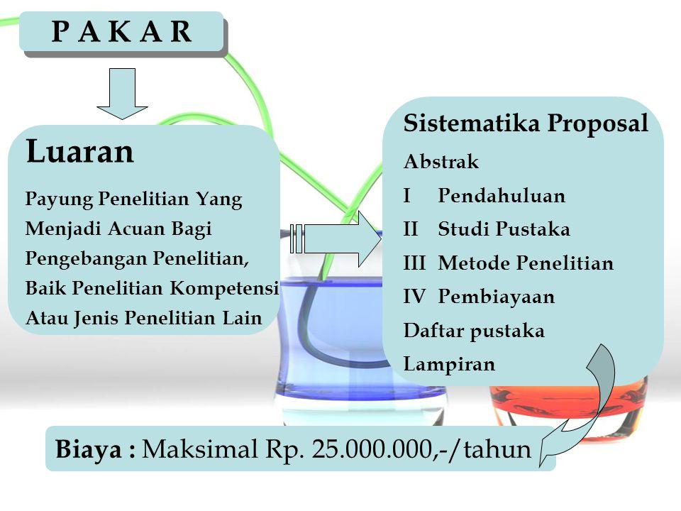 Luaran P A K A R Biaya : Maksimal Rp. 25.000.000,-/tahun