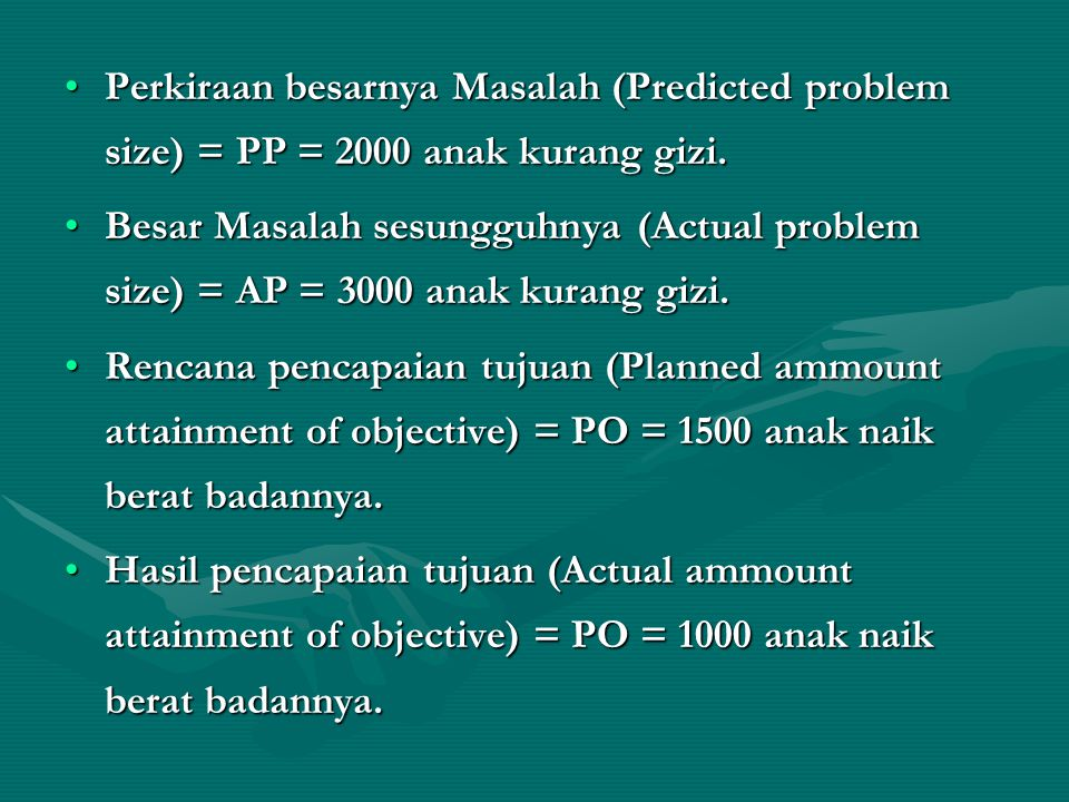 Perkiraan besarnya Masalah (Predicted problem size) = PP = 2000 anak kurang gizi.