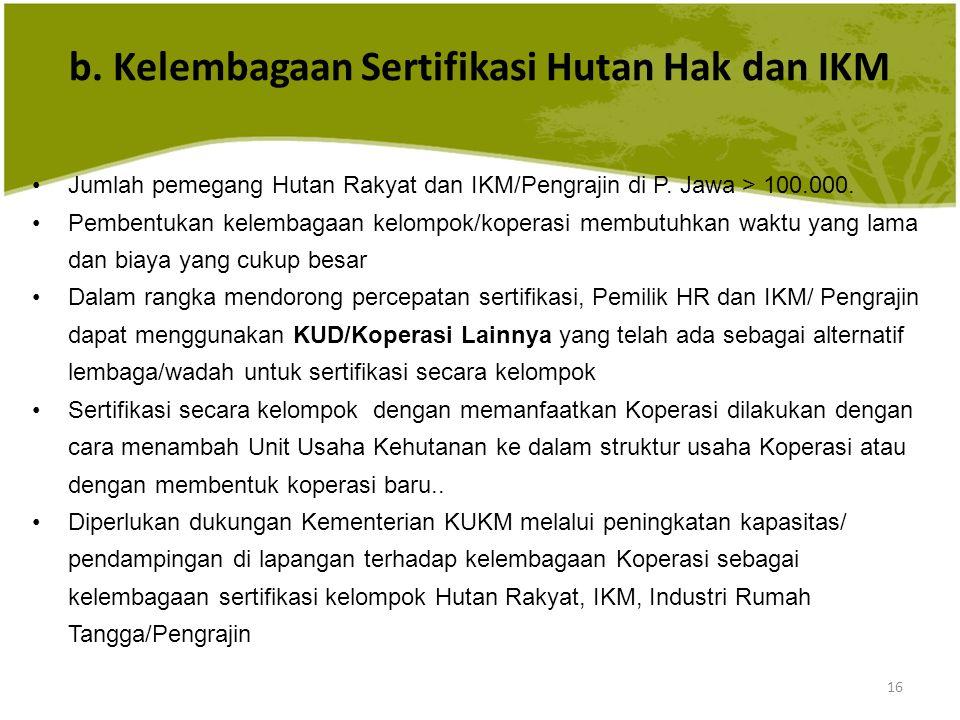 b. Kelembagaan Sertifikasi Hutan Hak dan IKM