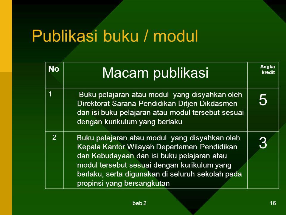 Publikasi buku / modul 5 3 Macam publikasi No