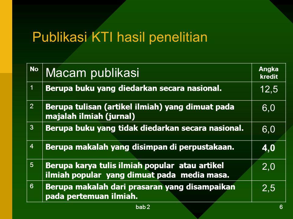 Publikasi KTI hasil penelitian