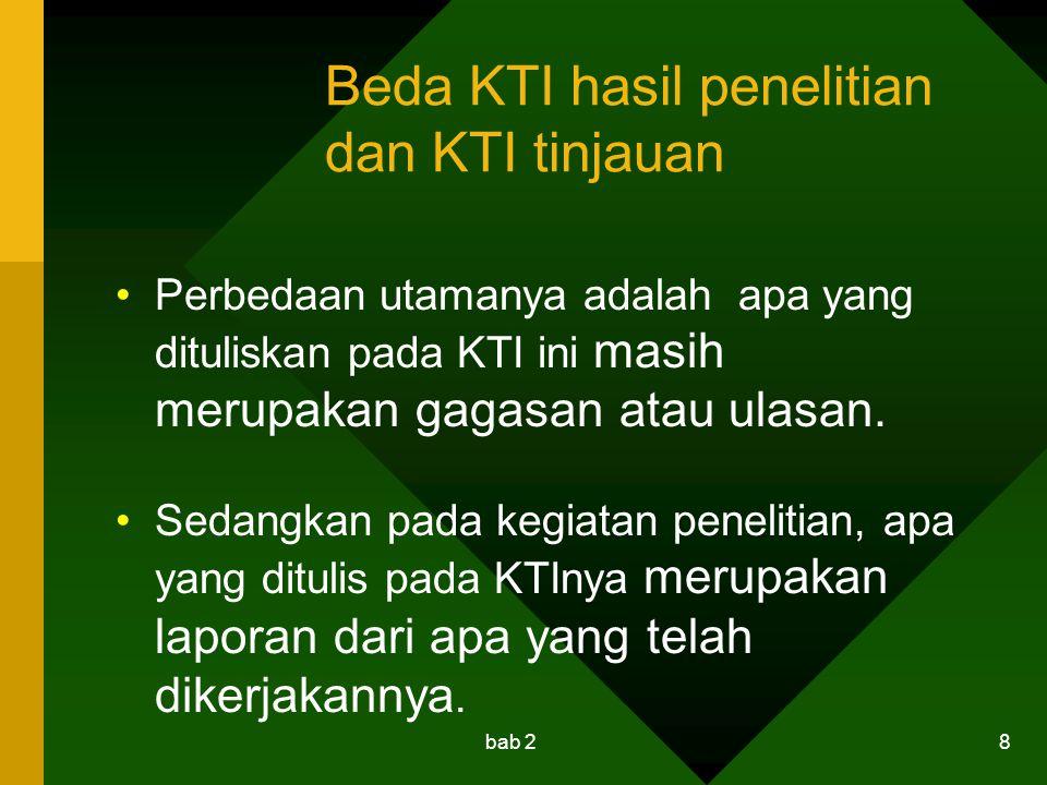 Beda KTI hasil penelitian dan KTI tinjauan