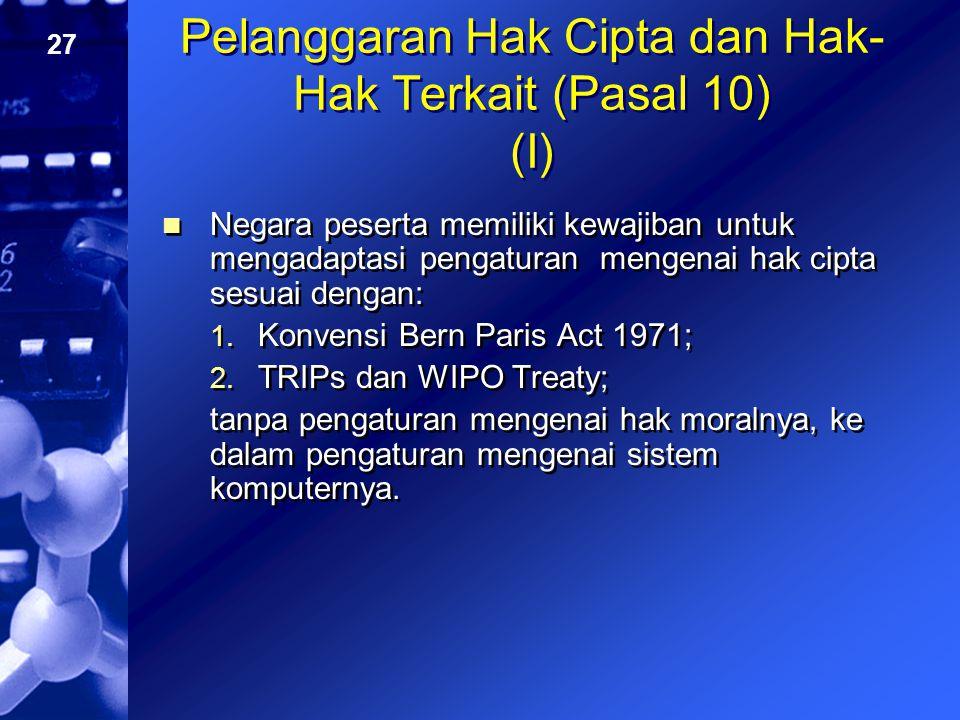 Pelanggaran Hak Cipta dan Hak-Hak Terkait (Pasal 10) (I)