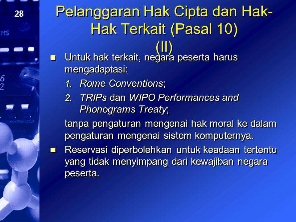 Pelanggaran Hak Cipta dan Hak-Hak Terkait (Pasal 10) (II)