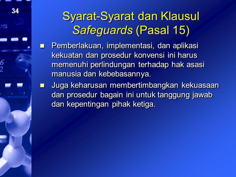 Syarat-Syarat dan Klausul Safeguards (Pasal 15)