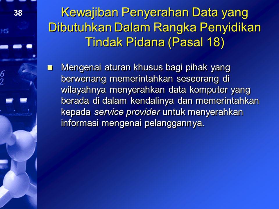 Kewajiban Penyerahan Data yang Dibutuhkan Dalam Rangka Penyidikan Tindak Pidana (Pasal 18)