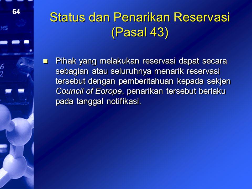 Status dan Penarikan Reservasi (Pasal 43)
