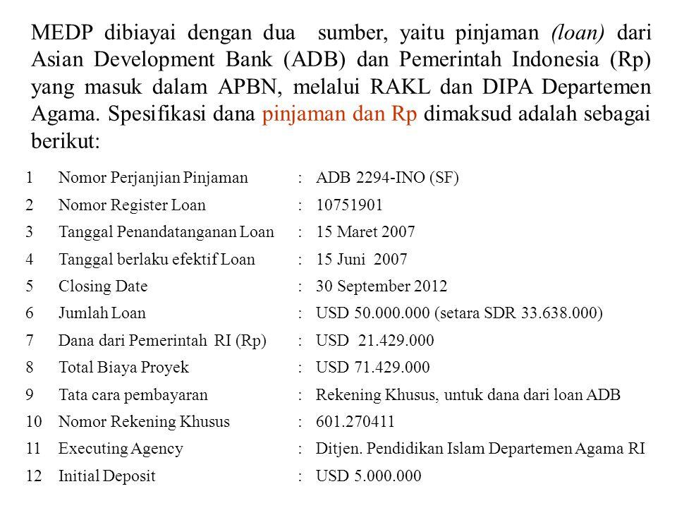MEDP dibiayai dengan dua sumber, yaitu pinjaman (loan) dari Asian Development Bank (ADB) dan Pemerintah Indonesia (Rp) yang masuk dalam APBN, melalui RAKL dan DIPA Departemen Agama. Spesifikasi dana pinjaman dan Rp dimaksud adalah sebagai berikut: