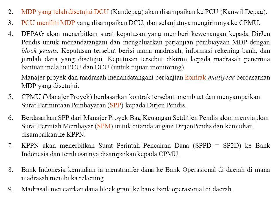 2. MDP yang telah disetujui DCU (Kandepag) akan disampaikan ke PCU (Kanwil Depag). 3.