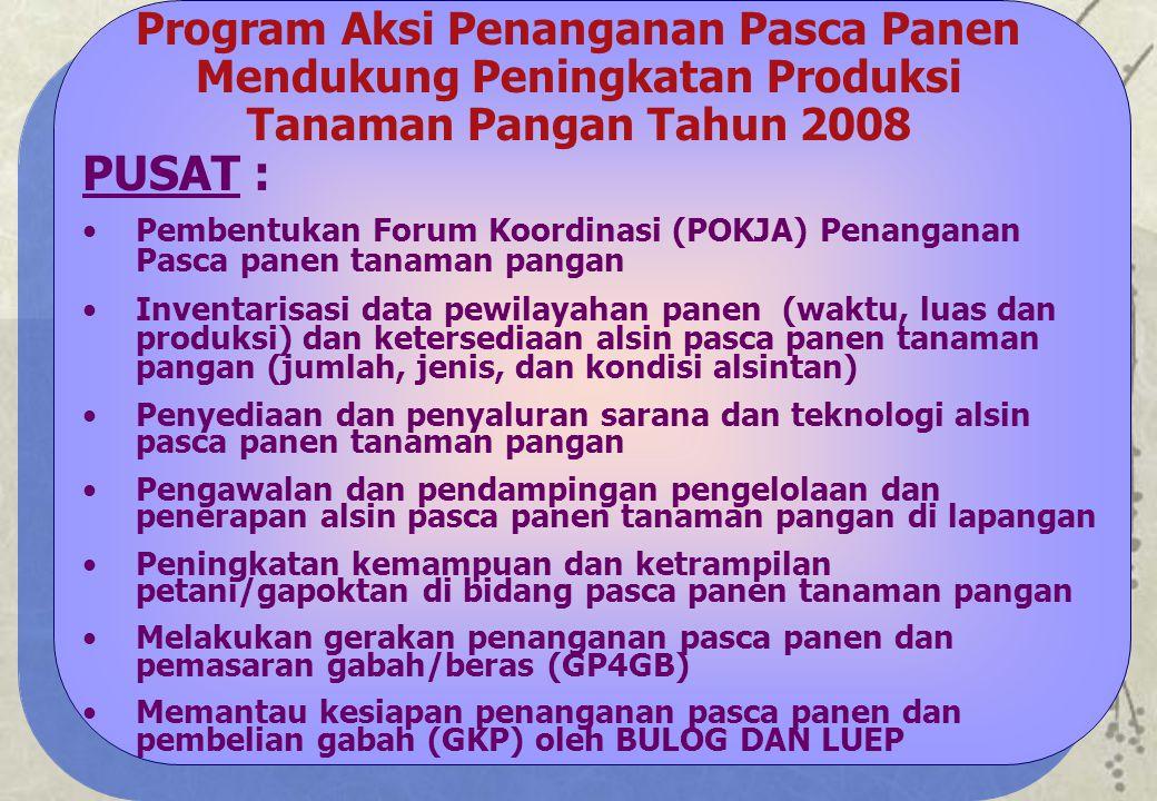 Program Aksi Penanganan Pasca Panen Mendukung Peningkatan Produksi Tanaman Pangan Tahun 2008