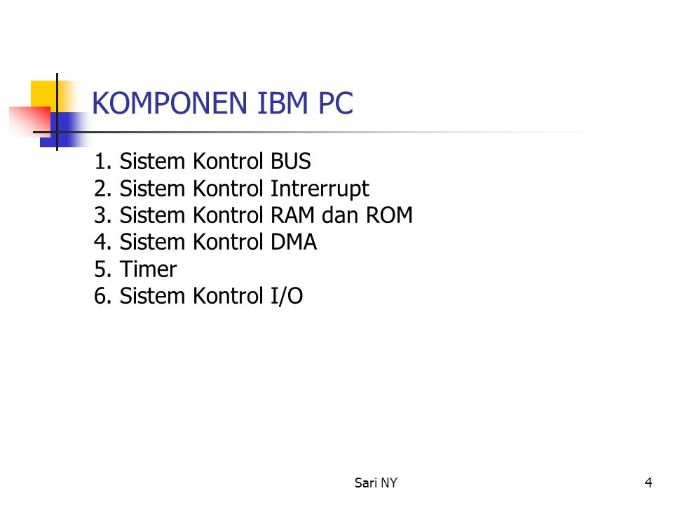 KOMPONEN IBM PC 1. Sistem Kontrol BUS 2. Sistem Kontrol Intrerrupt