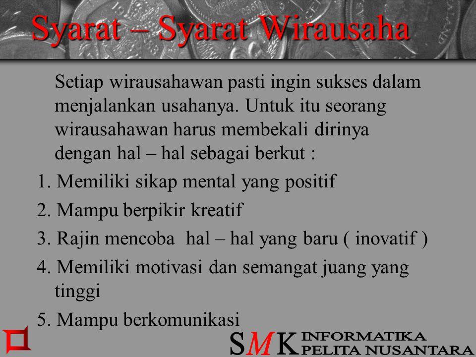Syarat – Syarat Wirausaha