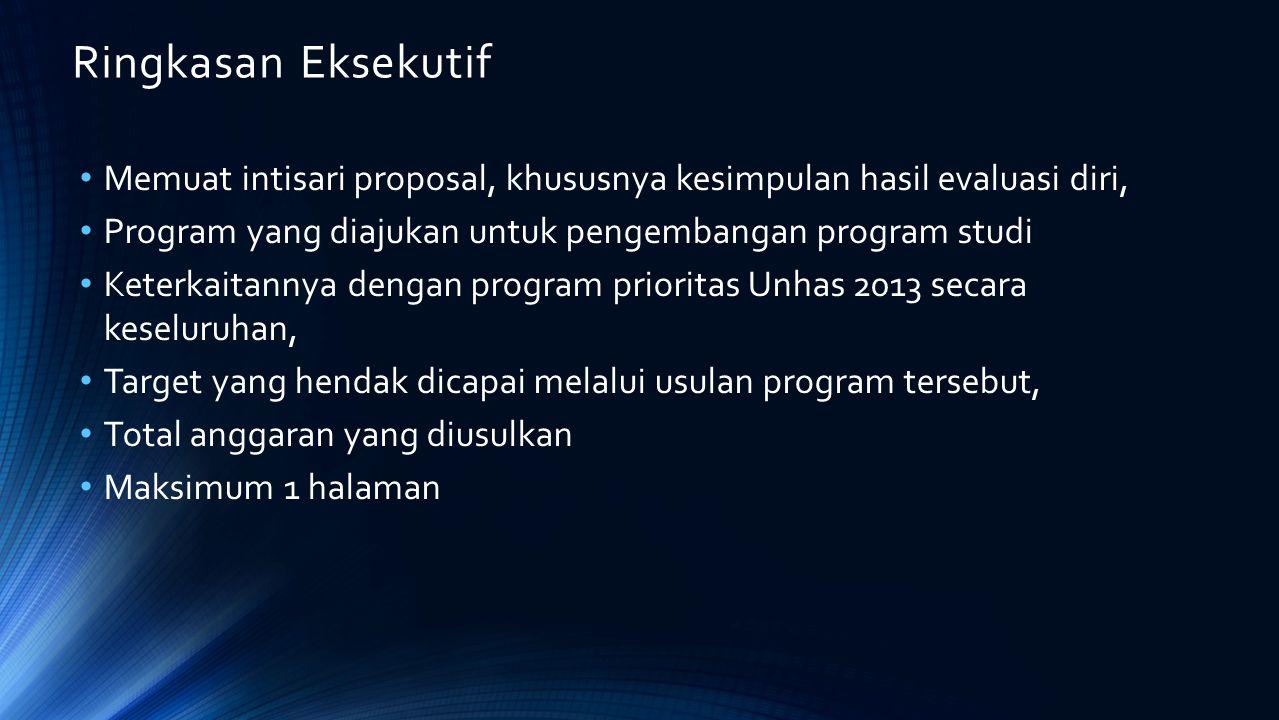 Ringkasan Eksekutif Memuat intisari proposal, khususnya kesimpulan hasil evaluasi diri, Program yang diajukan untuk pengembangan program studi.