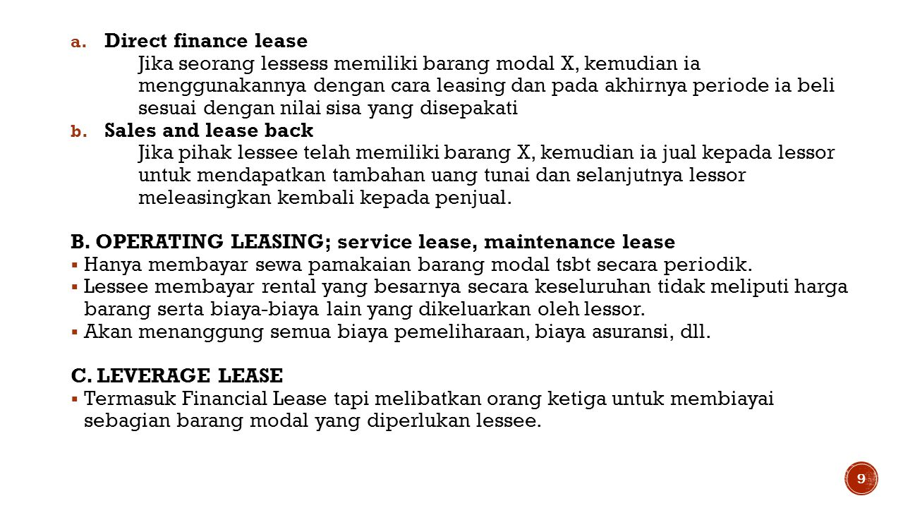 Direct finance lease